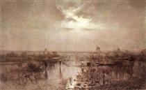 Fishing on the Tisza - Laszlo Mednyanszky
