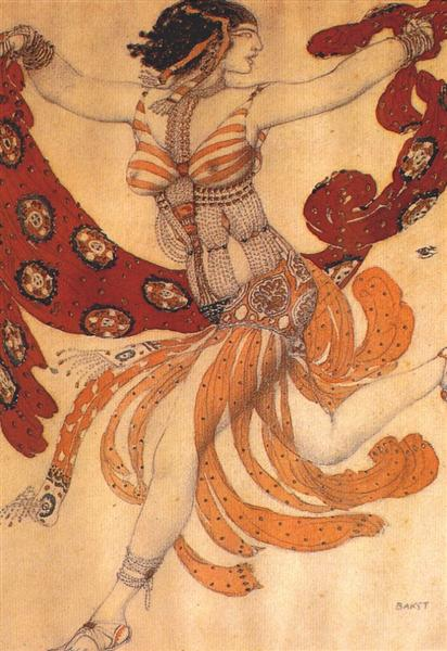 "Costume design for the ballet ""Cleopatra"", 1909 - Леон Бакст"