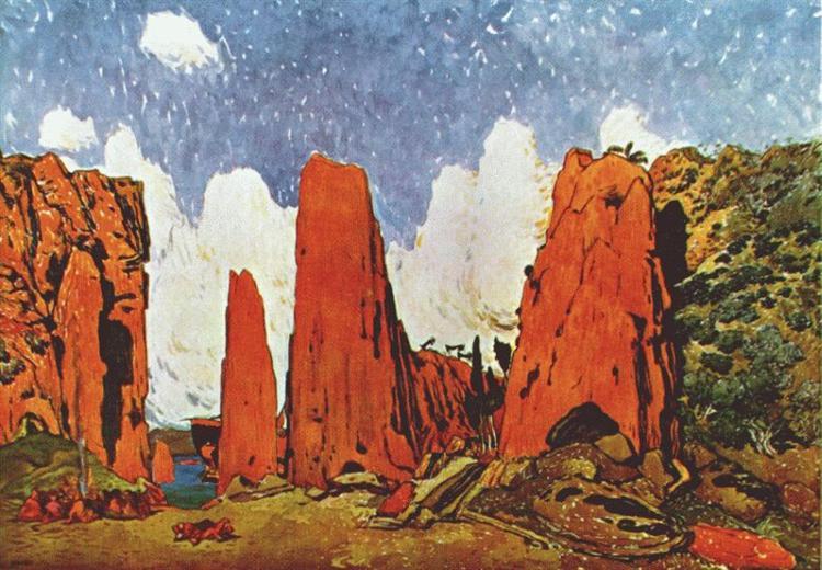 Daphnis and Chloe scenery for act II, 1912 - Leon Bakst