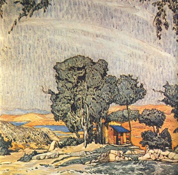 Эскиз декорации  к трагедии «Елена в Спарте», 1912 - Леон Бакст