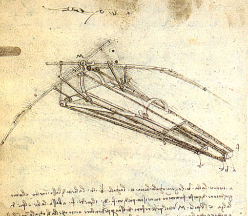 One of Leonardo da Vinci's designs for an Ornithopter, c.1489 - Leonardo da Vinci