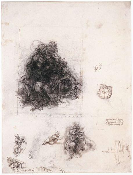 "Study for the ""Burlington House Cartoon"" (The Virgin and Child with St. Anne and St. John the Baptist), c.1507 - Leonardo da Vinci"