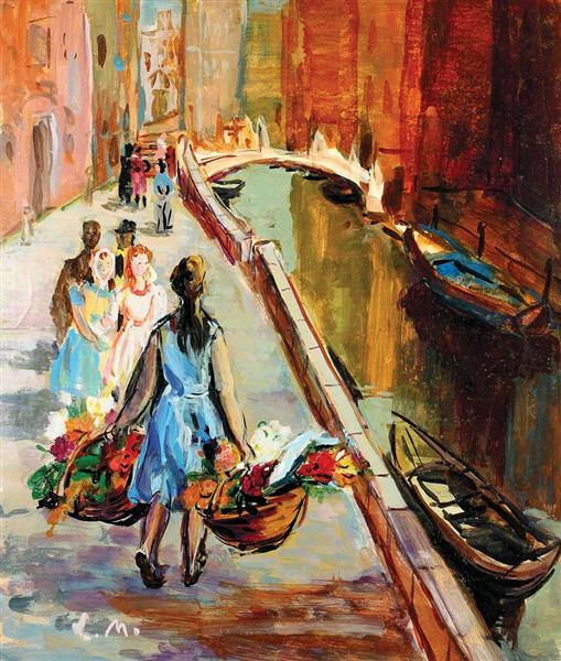 Flower Sellers in Venice, 1958 - Ligia Macovei