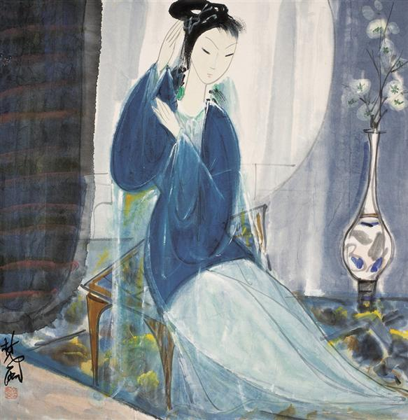Lady in Blue - Lin Fengmian