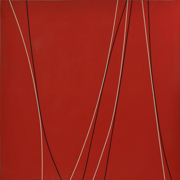 Untitled (Black and White Lines on Red Background), 1965 - Lorser Feitelson
