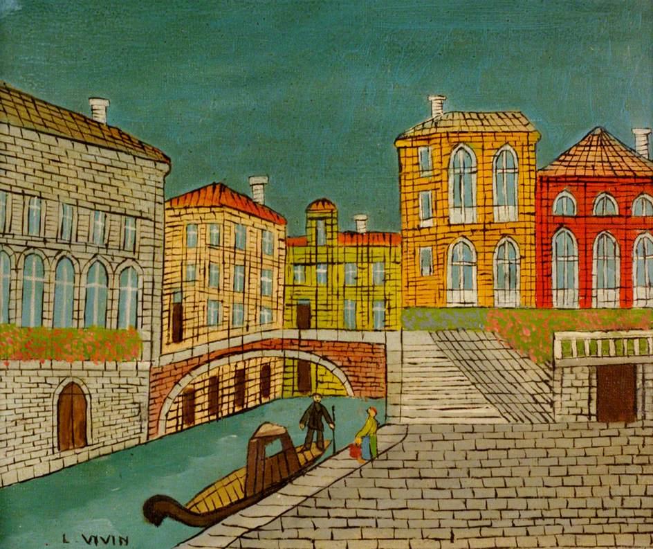 Venice Canal Scene With A Bridge Louis Vivin