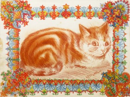 GINGER CAT IN DECORATION - Louis Wain