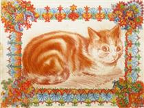 GINGER CAT IN DECORATION - Луис Уэйн