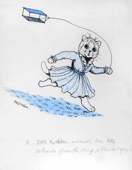 K. LITTLE KATHLEEN, OUT WITH HER KITE, IT BROKE FROM THE STRING, AND FLEW OUT OF SIGHT, 1914 - Louis Wain