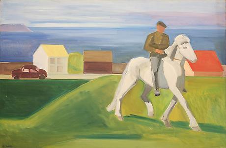 Rider in Icelandic Village - Louisa Matthiasdottir