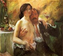 Self-Portrait with his Wife and a Glass of Champagne - Lovis Corinth