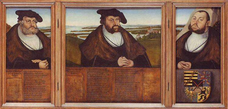 Electors of Saxony: Friedrich the Wise, Johann the Steadfast and Johann Friedrich the Magnanimous, 1532 - Лукас Кранах Старший