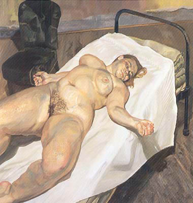 Naked Portait and a Green Chair - Freud Lucian
