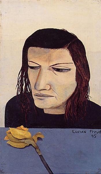 Женщина с нарциссом, 1945 - Люсьен Фрейд