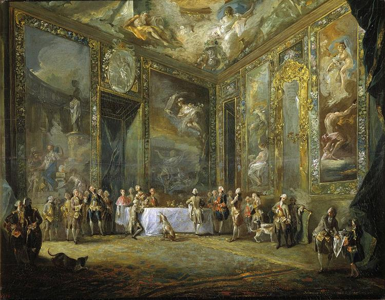 Charles III Dining before the Court, 1775 - Luis Paret y Alcazar