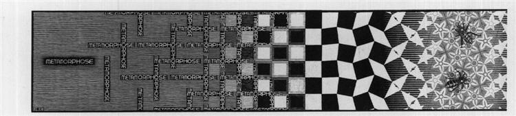 Metamorphosis III excerpt 1, 1967 - 1968 - M.C. Escher