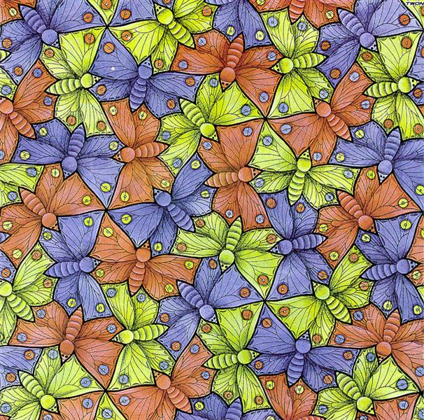 Symmetry Watercolor 70 Butterfly, 1948 - Maurits Cornelis Escher