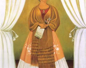 Self-Portrait Dedicated tomLeon Trotsky (Between the Curtains) - Frida Kahlo