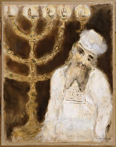 Aaron in front of the golden candlestick with seven branches, executed as prescribed by Lord, c.1931 - Marc Chagall