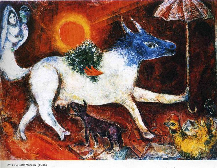 Cow with Parasol - Marc Chagall