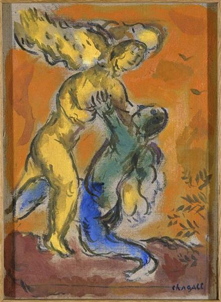 Jacob Wrestling with the Angel, c.1963 - Marc Chagall
