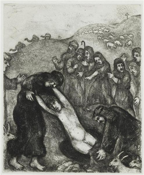 Joseph is attacked and robbed by his brothers (Genesis XXXVII, 23 24), c.1956 - Marc Chagall