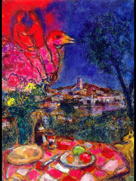 Laid Table with View of Saint-Paul de Vance, 1968 - Marc Chagall