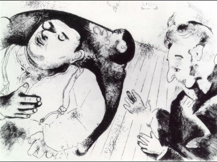 Tchitchikov and Sobakevich after dinner, c.1923 - Marc Chagall