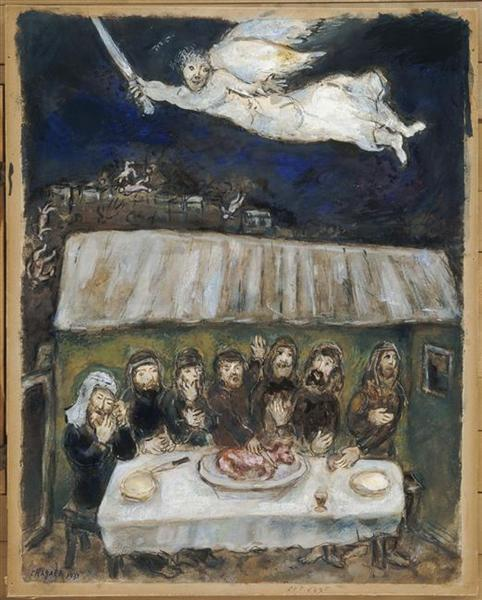 The Israelites are eating the Passover Lamb - Chagall Marc