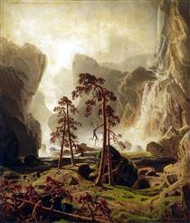 Mountains and a Waterfall - Marcus Larson