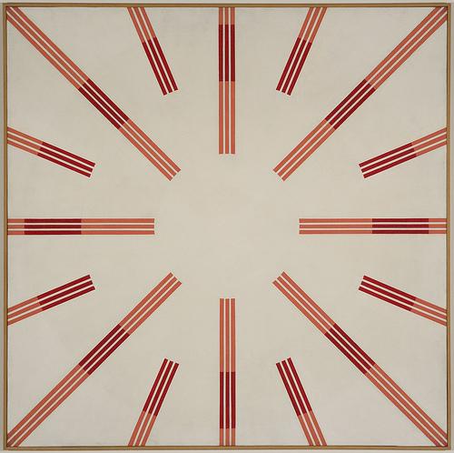 Effetti indotti di contrasto e di assimilazione di tonalità complementare (al rosso scuro), 1968 - Mario Ballocco