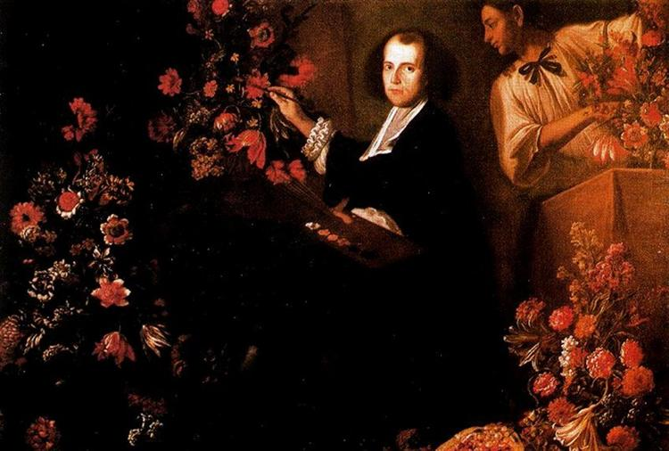 Self-portrait with flowers, 1640 - Маріо Де Фьйорі