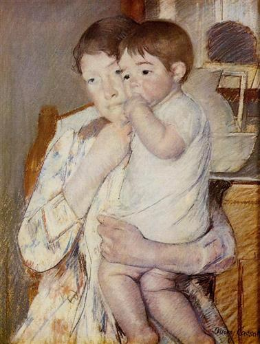 Baby in His Mother`s arms, sucking his finger - Mary Cassatt