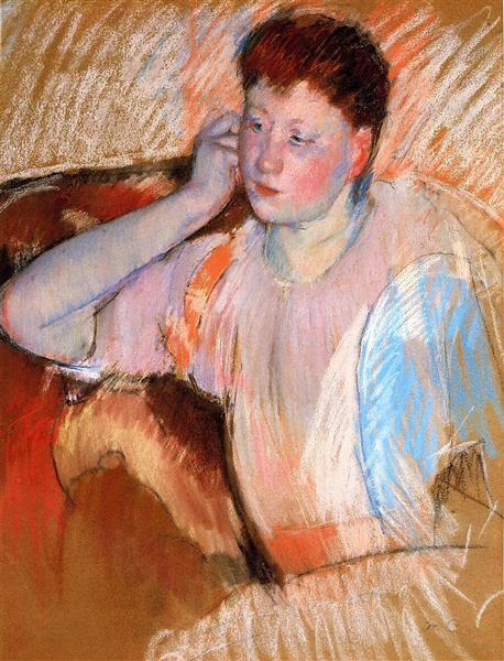 Clissa Turned Left with Her Hand to Her Ear, 1895 - Mary Cassatt