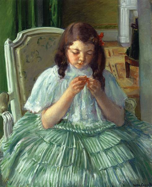 Françoise in Green, Sewing, c.1908 - 1909 - Mary Cassatt