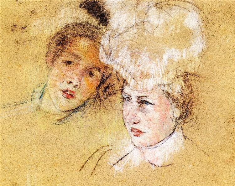 Heads of Leontine and a Friend, c.1898 - Mary Cassatt