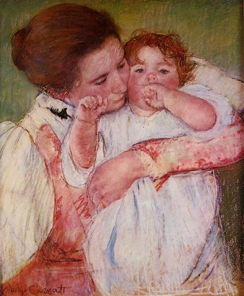 Little Ann Sucking Her Finger Embraced by Her Mother, 1897 - 玛丽·卡萨特