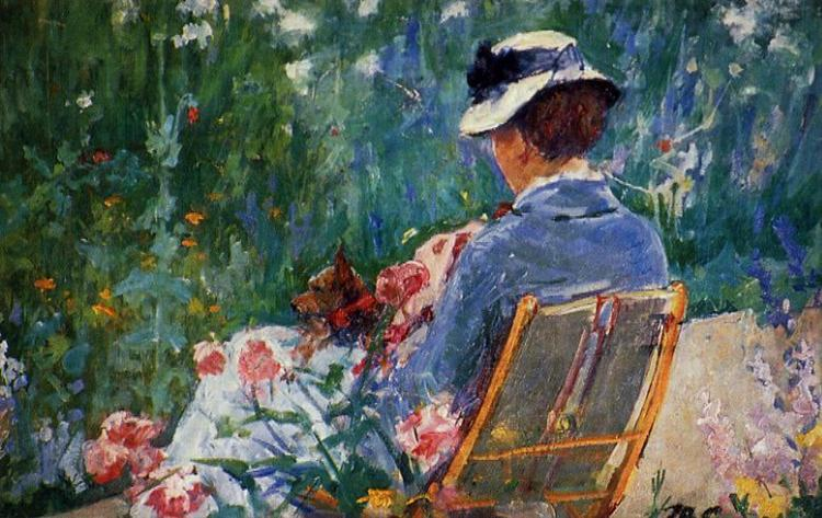 Lydia Seated in the Garden with a Dog in Her Lap, c.1880 - Mary Cassatt