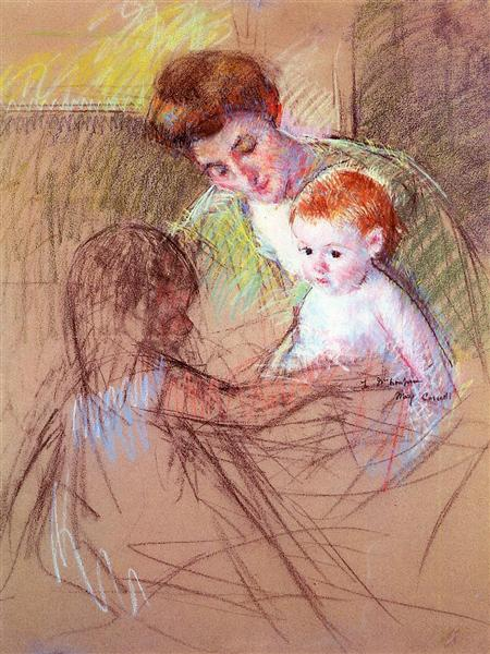 Mother and Daughter Looking at the Baby, c.1905 - Mary Cassatt