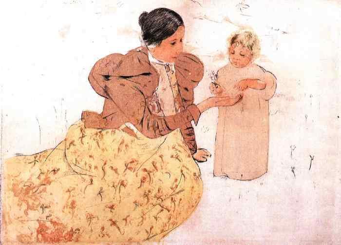Picking Daisies in a Field, 1889 - 1890 - Mary Cassatt