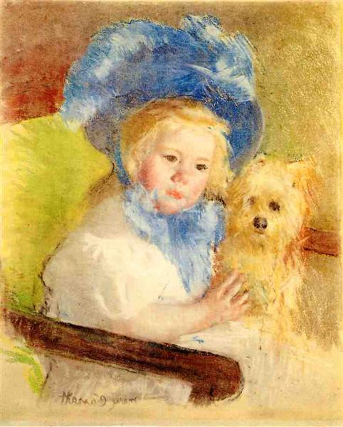 Simone in a Large Plumed Hat, Seated, Holding a Griffon Dog, c.1903 - Mary Cassatt