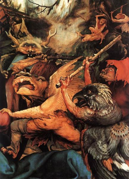 Demons Armed with Sticks (detail from the Isenheim Altarpiece), c.1512 - c.1516 - Matthias Grünewald
