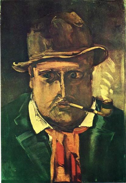 Self Portrait With Pipe - Maurice de Vlaminck