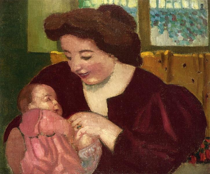Maternite, Anne Marie et Marthe a la Bague Ovale, 1902 - Maurice Denis