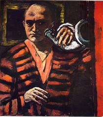 Self-Portrait with Trumpet - Max Beckmann