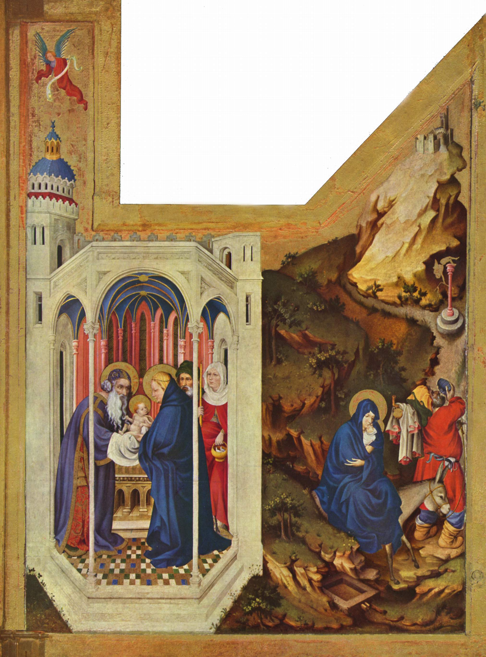 Altar of Philip the Bold, Duke of Burgundy, right wing: The presentation in the temple and the Flight to Egypt, 1399