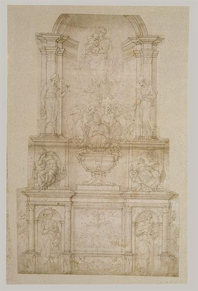 Design for Julius II tomb (first version), c.1540 - Michelangelo
