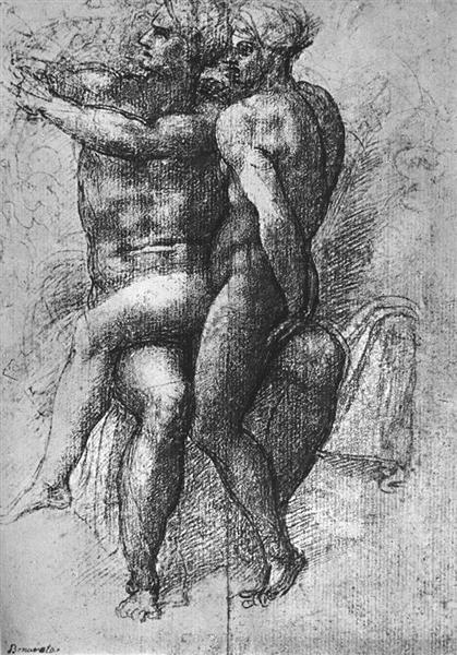 Nude female seated on the knees of a seated male nude: Adam and Eve - Michelangelo