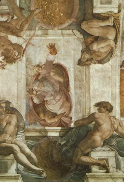 Sistine Chapel Ceiling: God Dividing Land and Water, 1508 - 1512 - Michelangelo