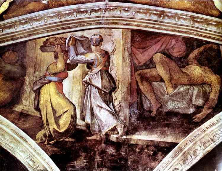 Розписи стелі Сікстинської капели: Юдиф з головою Олоферна, 1512 - Мікеланджело